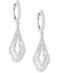 Effy - 14k White Gold & Diamond Drop Earrings - Lyst