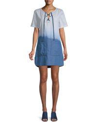PPLA - Everlane Lace-up Denim Dress - Lyst