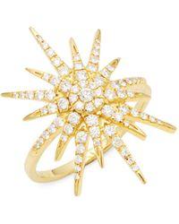Artisan - 18k Yellow Gold & Diamond Starburst Ring - Lyst