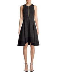 Donna Karan - Check Fit-&-flare Dress - Lyst