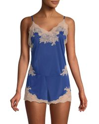 Lyst - Josie Natori Lace-overlay Silk Camisole in Black c0f2b73e7
