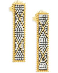 Freida Rothman - Contemporary Deco Crystal And Sterling Silver Statement Earrings - Lyst