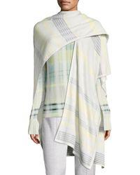St. John - Felt Plaid Knit Wrap Scarf - Lyst