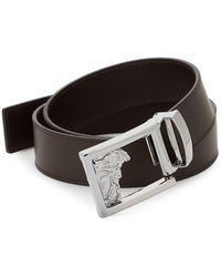 Versace Medusa Logo Buckle Leather Belt