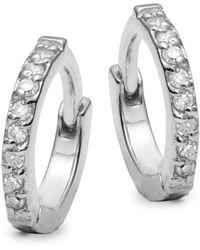 Danni - Diamond And 14k White Gold Huggie Earrings - Lyst