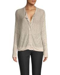 INHABIT - Buttoned Linen Cardigan - Lyst