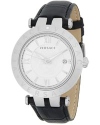Versace - V-race Silver Dial Leather Watch - Lyst