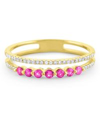 KC Designs - Pink Sapphire & Diamond Yellow Gold Ring - Lyst