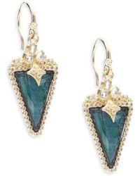 Armenta - Old World Diamond, Sapphire, Malachite, Rainbow Moonstone, 18k Yellow Gold & Sterling Silver Earrings - Lyst
