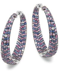 Roberto Coin - Diamond, Sapphire And 18k White Gold Hoop Earrings - Lyst