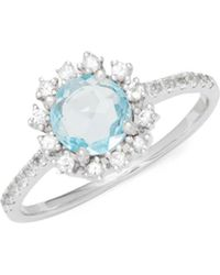 Suzanne Kalan - Blue Topaz, White Sapphire And 14k White Gold Ring - Lyst