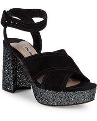 Miu Miu - Glitter Platform Sandals - Lyst