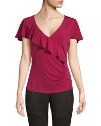 Laundry by Shelli Segal - Ruffle-front Top - Lyst