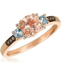 Le Vian - Chocolatier Diamond, Morganite, Aquamarine & 14k Rose Gold Ring - Lyst