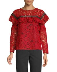 Red Carter - Ruffled Lace Top - Lyst
