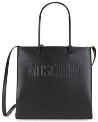 Moschino Leather Logo Tote - Black