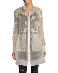 Elie Tahari - Embellished Sheer Silk Coat - Lyst