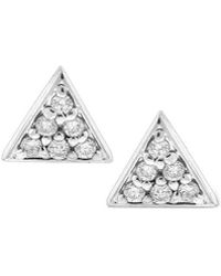 KC Designs - Triangle Diamond And 14k White Gold Stud Earrings - Lyst