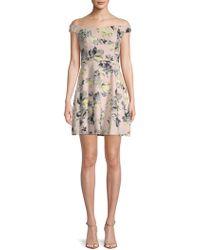 19 Cooper - Floral Off-the-shoulder Mini Dress - Lyst
