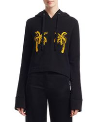 A.L.C. Valerie Embroidered French Cotton-terry Hoodie Black