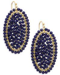 Panacea - Navy Crystal Beaded Drop Earrings - Lyst