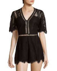 Lovers + Friends - Josephine Short-sleeve Lace Romper - Lyst