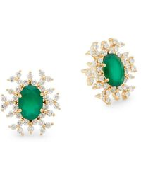 Hueb - 18k Gold Emerald & Diamond Starburst Earrings - Lyst