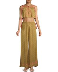 Free People - Hearts Rising Two-piece Embroideredcropped Top & Pants Set - Lyst