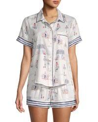 Jane And Bleecker - Two-piece Print Shorty Pyjama Set - Lyst