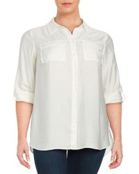 Vince Camuto - Plus Textured Button-front Shirt - Lyst
