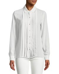T Tahari - Aliza Pleated Button Front Blouse - Lyst