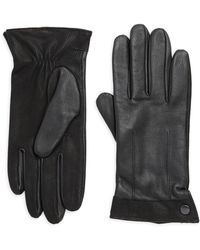 Saks Fifth Avenue - Leather Texture Trim Gloves - Lyst