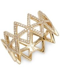 EF Collection - 14k Yellow Gold & Diamond Multi-triangle Ring - Lyst