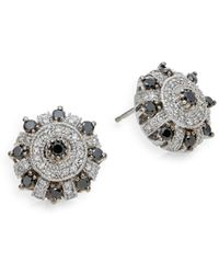 Effy - Black, White Diamond & 14k White Gold Stud Earrings - Lyst