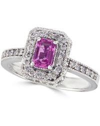 Effy - Diamond, Pink & 14k White Gold Sapphire Ring - Lyst
