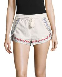 Red Carter - Front-tie Embroidered Shorts - Lyst