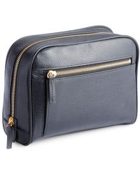 Royce - Pebbled Leather Zip Toiletry Bag - Lyst