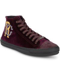 Roberto Cavalli - Velvet High-top Sneakers - Lyst