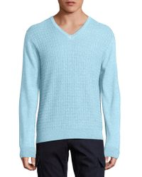 Saks Fifth Avenue - Jacquard V-neck Wool & Silk Sweater - Lyst