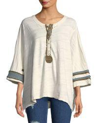 Free People - Three-quarter Sleeve Cotton Top - Lyst