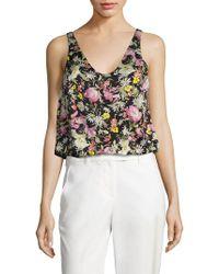 3347ba4773fec7 3.1 Phillip Lim Meadow Flower Print Silk Cold Shoulder Top in Black ...
