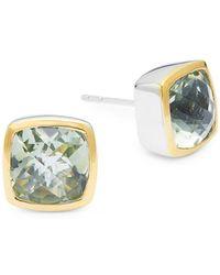 Effy - Sterling Silver, 18k Yellow Gold & Green Amethyst Stud Earrings - Lyst