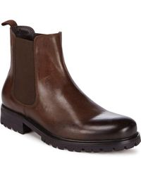 Saks Fifth Avenue - Lug Leather Cap Toe Boots - Lyst