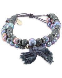 Chan Luu - Pyrite, Sodalite & Quartz Beaded Drawstring Bracelet - Lyst
