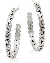 Lois Hill - Sterling Silver Scroll Hoop Earrings - Lyst