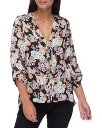 B Collection By Bobeau - Cristy Pleat-back Floral-print Blouse - Lyst