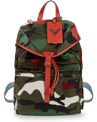 Valentino - Leather-trim Camo Backpack - Lyst
