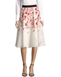 Noir Sachin & Babi - Lantana Floral-embroidered Silk Skirt - Lyst
