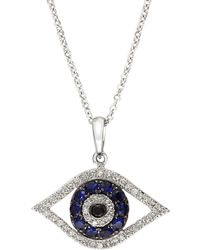 Effy - Royale Bleu Sapphire Necklace With Diamonds In 14k White Gold - Lyst