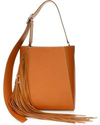 Calvin Klein - Leather Fringe Bucket Bag - Lyst